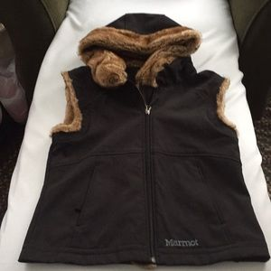 BEAUTIFUL Marmot Vest with Faux Fur Hood/Trim!